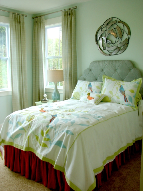 Teal bedroom for her, guestroom.