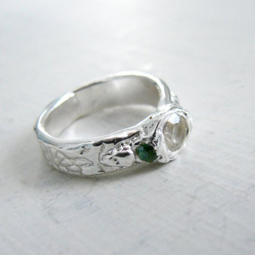 White Topaz Ring with Paisley Band