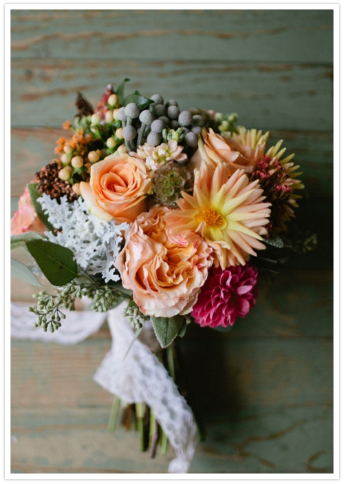 Vintage Alabama school house wedding with fall bridal bouquet.