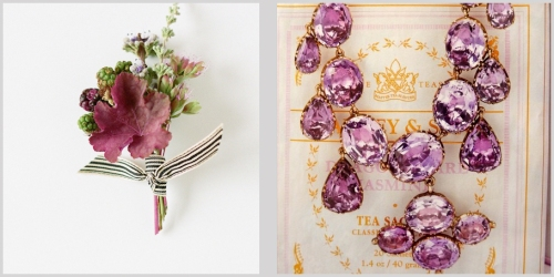 Rustic boutonniere and luxurious gold and amethyst necklace.