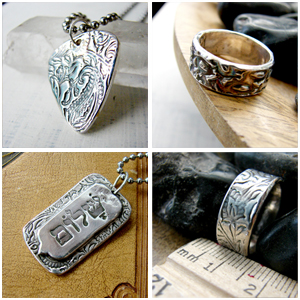 Great silver jewelry for him, gifts for Father's Day.