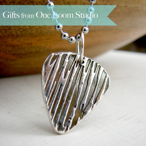 Fine silver guitar pick necklace with nautical water ripple pattern is a perfect for Father's Day gift.