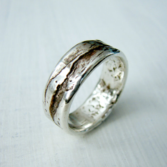 Wedding ring made from custom Birch Bark Mold with Mountain Range effect.